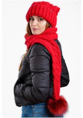Červená vlnená čiapka so šálom s pompónom pre dámy