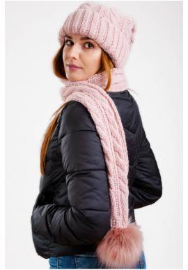 Dámske vlnené čiapky so šálom s pompónom v ružovej farbe