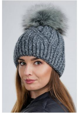 Sivá vlnená čiapka s pompónom pre dámy