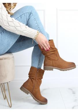 Hnedé matné čižmy s nariaseným zvrškom pre dámy