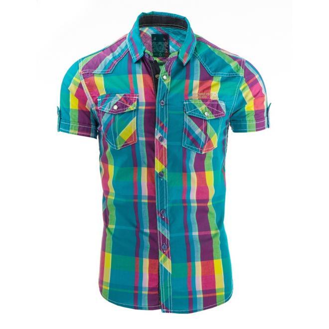 Károvaná viacfarebná košeľa s krátkym rukávom