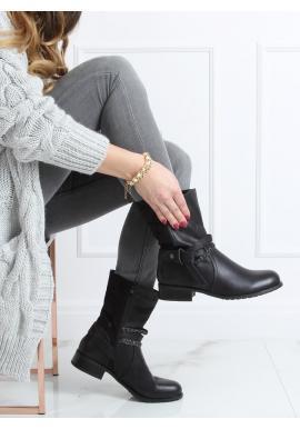 Čierne lícové čižmy s ozdobnými pásikmi pre dámy
