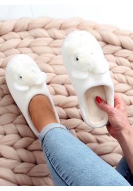Biele teplé papuče s gumovou podrážkou pre dámy