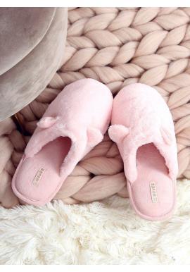 Teplé dámske papuče svetloružovej farby s ušami