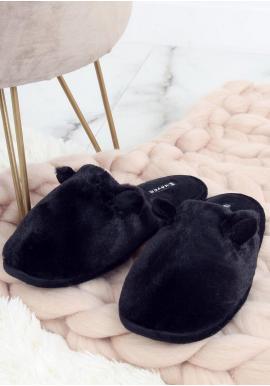 Dámske teplé papuče s ušami v čiernej farbe