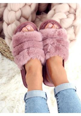 Dámske kožušinové papuče s gumičkou v ružovej farbe