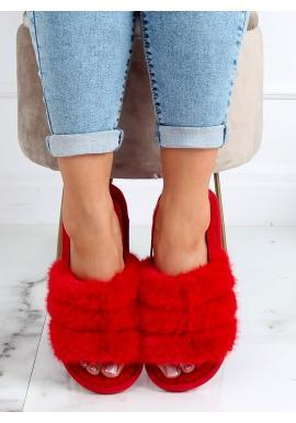 Červené kožušinové papuče s gumičkou pre dámy