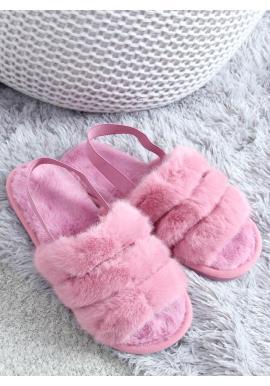 Dámske kožušinové papuče s gumičkou vo fialovej farbe