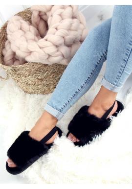 Čierne kožušinové papuče s gumičkou pre dámy