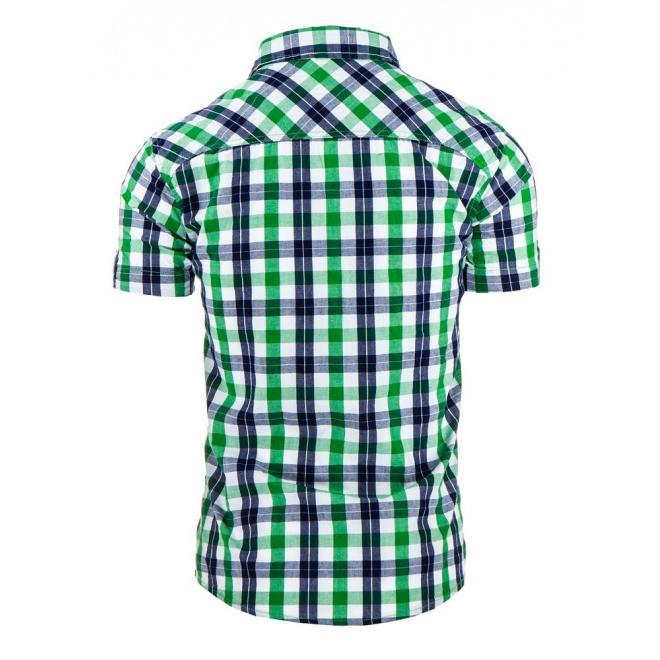 Pánska károvaná košeľa v zeleno-modrej farbe