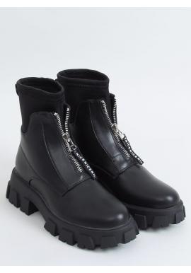 Čierne krátke čižmy s vysokou podrážkou pre dámy