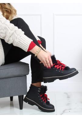 Tmavomodré štýlové topánky s ozdobnou kožušinou pre dámy