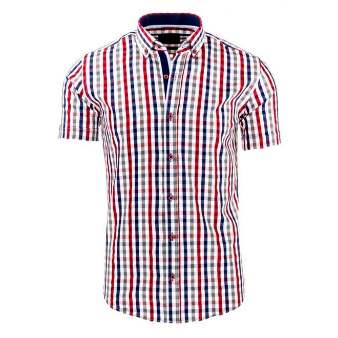Červeno-modrá košeľa s kockovaným motívom