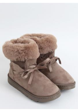 Béžové semišové snehule s volánom a kožušinou pre dámy