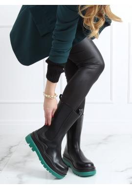 Dámske motorkárske čižmy s masívnou podrážkou v čierno-zelenej farbe