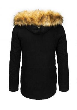 Zimné pánske parky čiernej farby s kapucňou