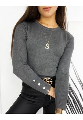 Tmavosivý priliehavý sveter s gombíkmi na rukávoch pre dámy