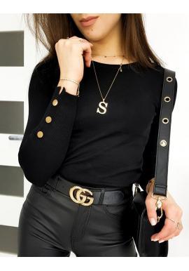 Dámsky priliehavý sveter s gombíkmi na rukávoch v čiernej farbe
