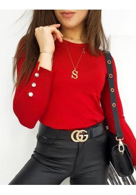 Červený priliehavý sveter s gombíkmi na rukávoch pre dámy