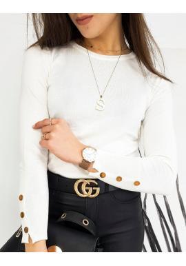 Priliehavý dámsky sveter bielej farby s gombíkmi na rukávoch
