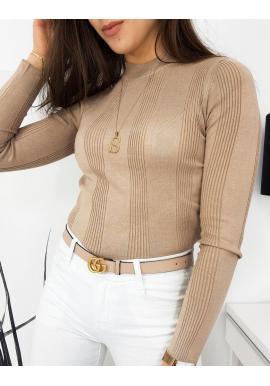 Béžový rebrovaný sveter s polrolákom pre dámy