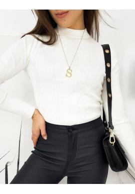 Dámske rebrované svetre s polrolákom v bielej farbe