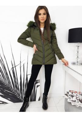 Dámska prešívaná bunda s kapucňou v kaki farbe
