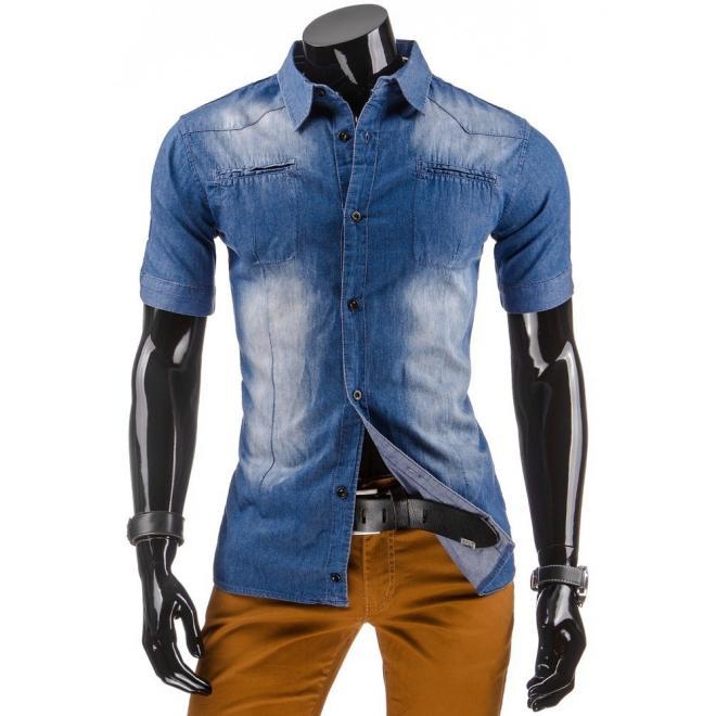 Košeľa modrej farby v džínovom vzhľade