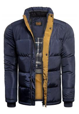 Pánska zimná bunda s kapucňou v modrej farbe