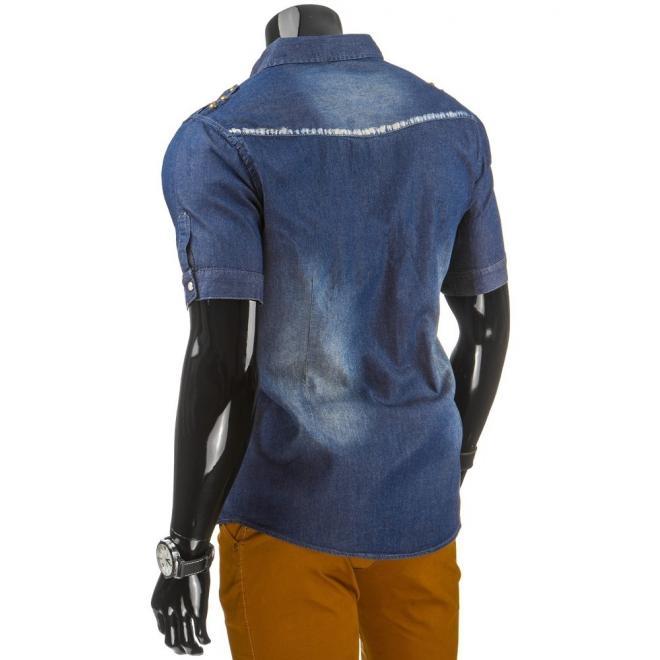 Modrá džínová košeľa s farebným detailom na rukávoch