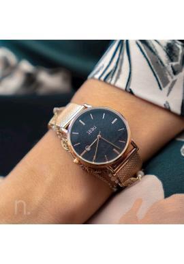 Zlato-čierne módne hodinky s kovovým remienkom pre dámy