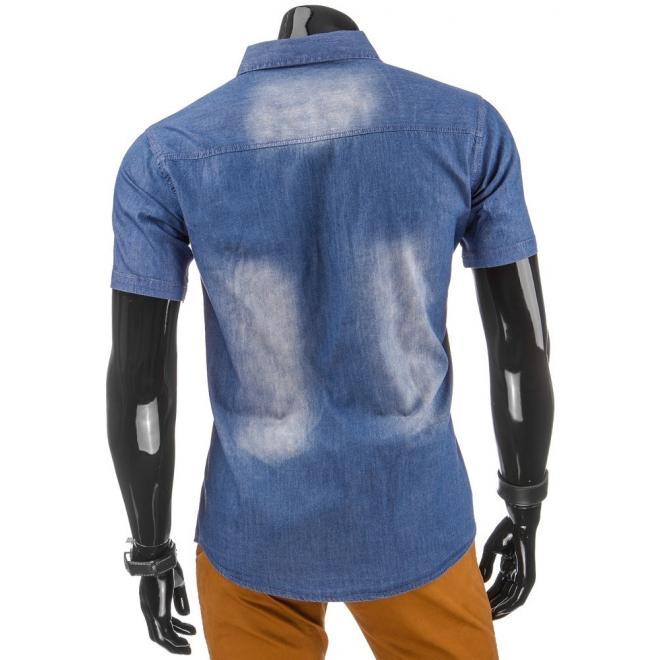 Pánska džínová košeľa v tmavomodrej farbe