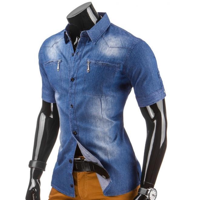 Klasická džínová košeľa modrej farby pre pánov