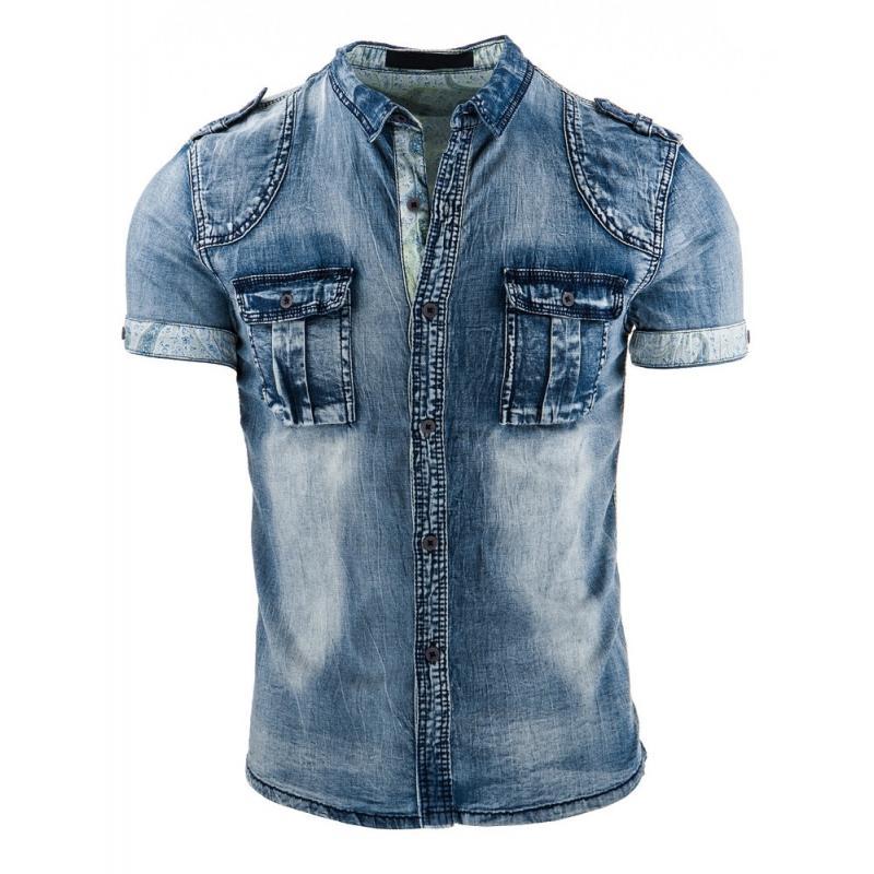 3d9f3ba73351 Štýlová džínová košeľa v modrej farbe pre pánov - skvelamoda.sk