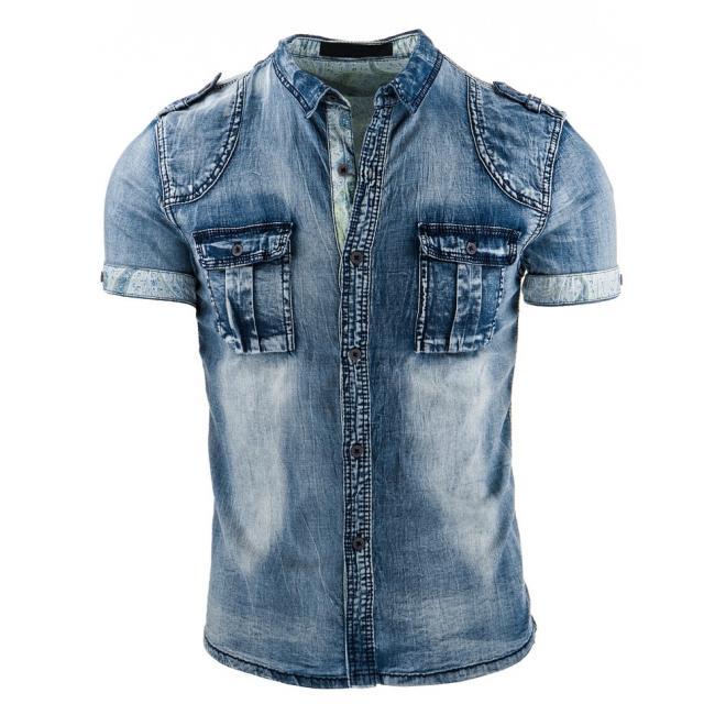 Štýlová džínová košeľa v modrej farbe pre pánov