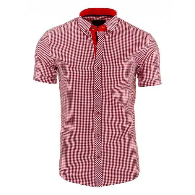 Kockovaná pánska košeľa v bordovo-bielej farbe