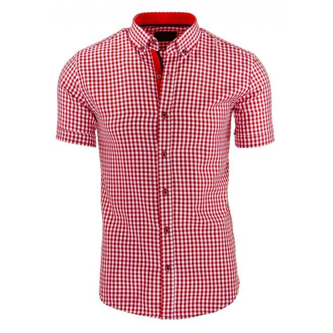 Pánska košeľa červeno-bielej farby s kockovaným motívom