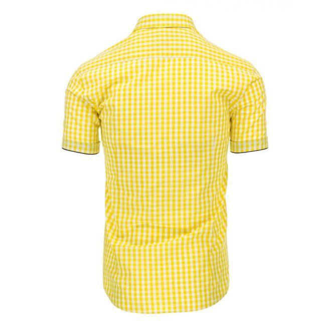 Kockovaná košeľa pre pánov v žltej farbe