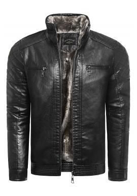 Oteplená pánska kožená bunda čiernej farby na zimu
