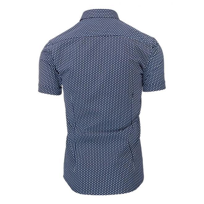Tmavomodrá pánska košeľa so vzorom guličiek
