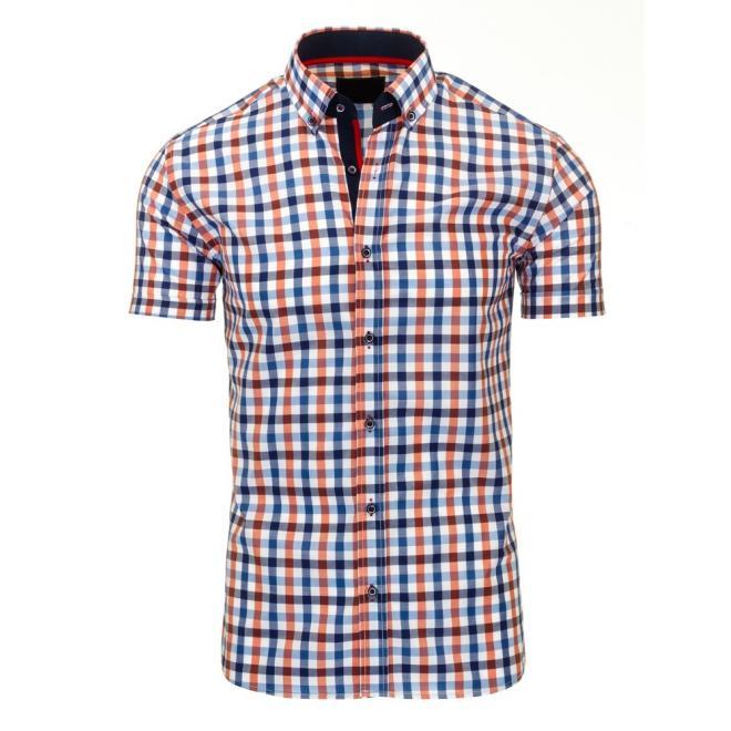 Košeľa modrej farby s bielymi guličkami pre pánov