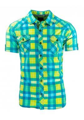 Károvaná tyrkysovo-žltá košeľa s krátkym rukávom