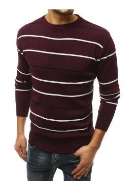 Bordový pásikavý sveter s okrúhlym výstrihom pre pánov
