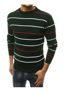 Pásikavý pánsky sveter zelenej farby s okrúhlym výstrihom