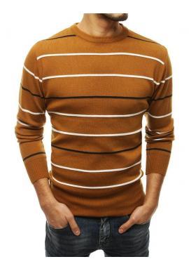 Pánsky pásikavý sveter s okrúhlym výstrihom v hnedej farbe