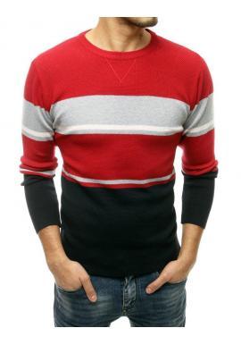 Červený štýlový sveter s kontrastnými pruhmi pre pánov