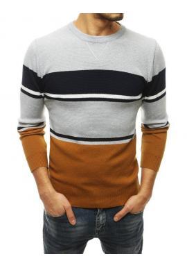 Štýlový pánsky sveter svetlosivej farby s kontrastnými pruhmi
