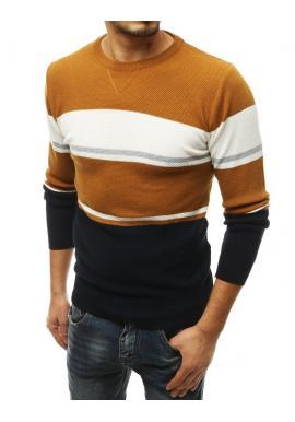 Pánsky štýlový sveter s kontrastnými pruhmi v hnedej farbe
