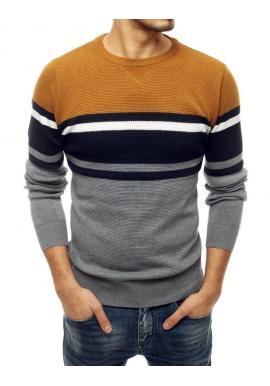 Módny pánsky sveter svetlosivej farby s kontrastnými pruhmi