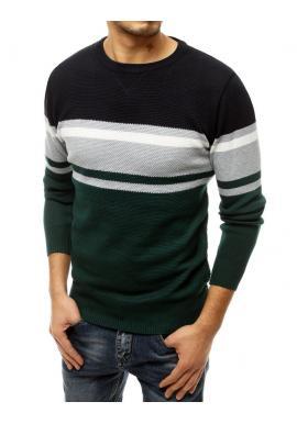 Pánsky módny sveter s kontrastnými pruhmi v zelenej farbe